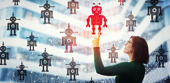 woman pointing at a robot illustration